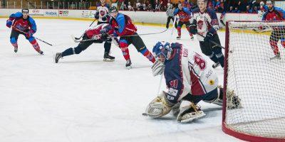 """Optibet hokeja līgas regulārā čempionāta spēle starp HK """"Zemgale/LLU"""" un HK """"Prizma"""" Jelgavas ledus hallē 2018. gada 21. februārī."""