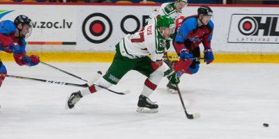 """Optibet hokeja līgas regulārā čempionāta spēle starp """"Zemgale/LLU"""" un """"Liepāja/Optibet"""" 2018. gada 13. janvārī Jelgavas ledus hallē."""