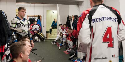 """Optibet hokeja līgas izslēgšanas spēļu kārtas pusfināla pirmā spēle starp HK """"Mogo"""" un HK """"Zemgale/LLU"""" Mogo ledus hallē, Rīgā, 2018. gada 24. februārī. Grundmanis"""