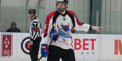 """Optibet hokeja līgas izslēgšanas spēļu kārtas pusfināla pirmā spēle starp HK """"Mogo"""" un HK """"Zemgale/LLU"""" Mogo ledus hallē, Rīgā, 2018. gada 24. februārī. Millers"""