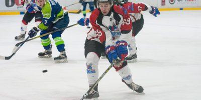 """Optibet hokeja līgas izslēgšanas spēļu kārtas pusfināla pirmā spēle starp HK """"Mogo"""" un HK """"Zemgale/LLU"""" Mogo ledus hallē, Rīgā, 2018. gada 24. februārī. Minajevs"""