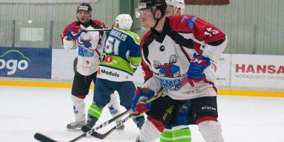 """Optibet hokeja līgas izslēgšanas spēļu kārtas pusfināla pirmā spēle starp HK """"Mogo"""" un HK """"Zemgale/LLU"""" Mogo ledus hallē, Rīgā, 2018. gada 24. februārī. Bernhards"""