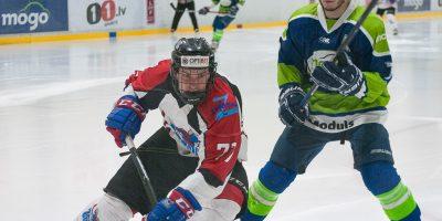 """Optibet hokeja līgas izslēgšanas spēļu kārtas pusfināla pirmā spēle starp HK """"Mogo"""" un HK """"Zemgale/LLU"""" Mogo ledus hallē, Rīgā, 2018. gada 24. februārī. Aploks"""