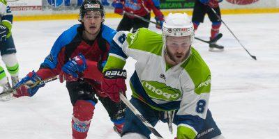 """Optibet hokeja līgas pusfināla izslēgšanas kārtas sestā spēle starp HK """"Zemgale/LLU"""" un HK """"Mogo"""" Jelgavas ledus hallē, 2018. gada 06. martā."""