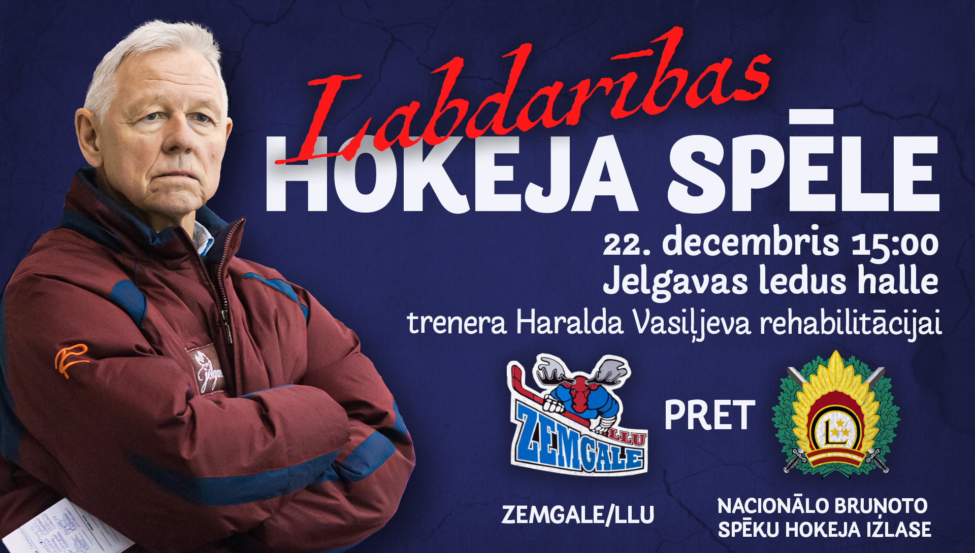 Treneris Haralds Vasiļjevs uz plakāta